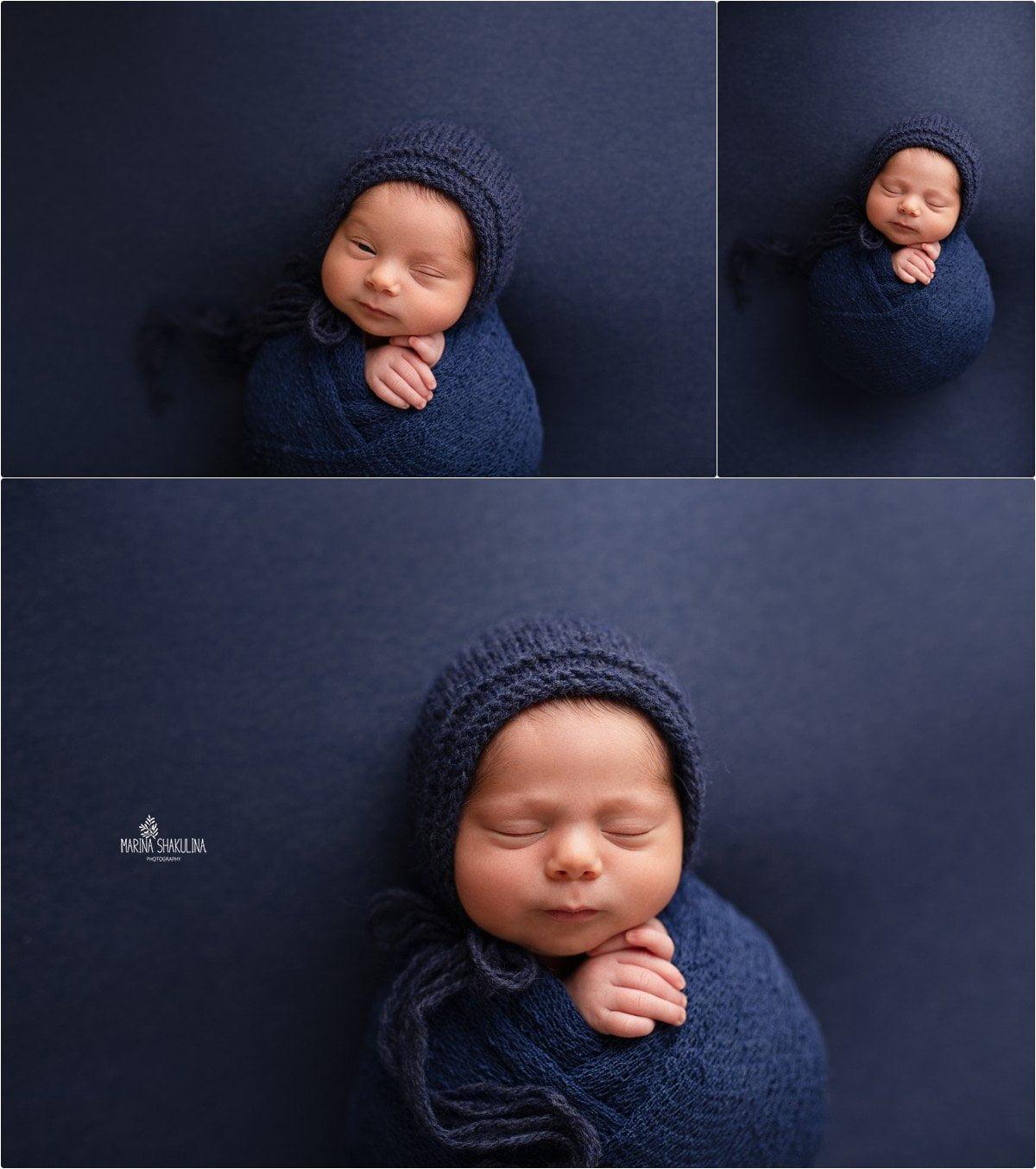 foto neonato a Verona - fasciato in blue