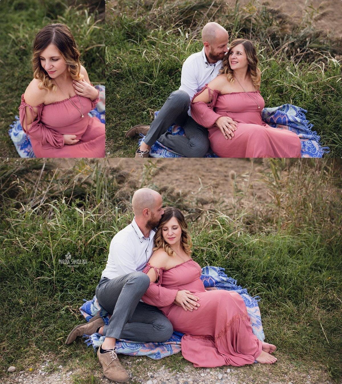 Fotografa Maternity - coppia seduta sul plaid